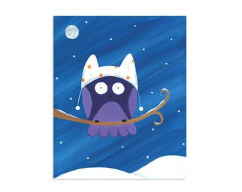 Owl in a Winter Hat ~ Seasonal Owl Print