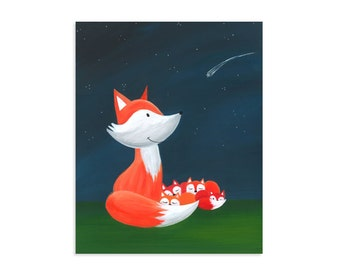 Mama Fox and Pups - Original Art Print