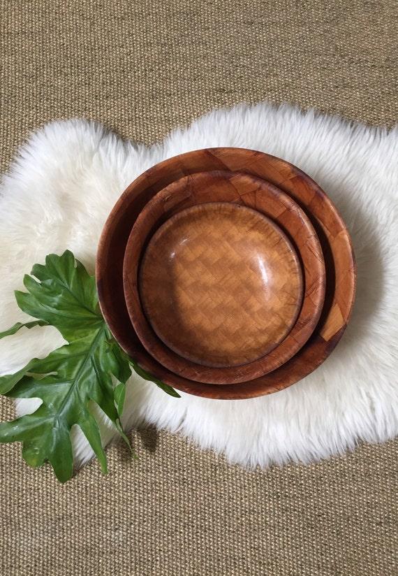 large set of parquet weave wood salad bowls / trio