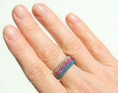Teal and Purple Mixed Metals Beaded Ring // Seed Bead Ring // Autumn Peyote Ring // Fall Colors // Blue Magenta Silver Copper Stripes