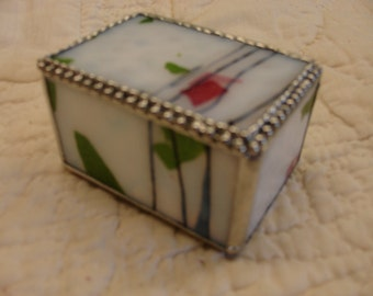 Stained Glass Box - White/ Pink / Green with Black Streamers 3 1/4 x 2 x 2 1/4