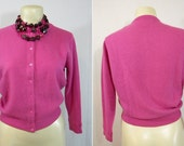 Ladies Vintage Hot Pink Lambswool Cardigan Sweater Size 40