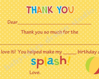 Pool Party Thank You Card thank you note card fill in note card  - DIY Print Your Own