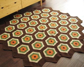 Brown & Orange Hexagon Rug / Floor Mat  79x79