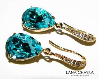 Light Turquoise Crystal Gold Earrings Swarovski Light Turquoise Earrings Teal Turquoise Rhinestone Teardrop Earrings Wedding Earrings