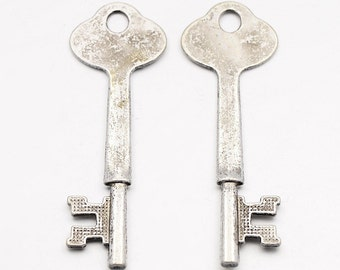 Skeleton Keys Stamping Blanks Antiqued Silver Skeleton Key 64mm 2 pieces