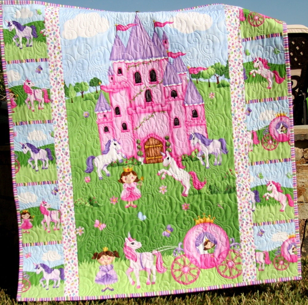 Sale Princess Baby Quilt Castle Unicorn By Sunnysidedesigns2