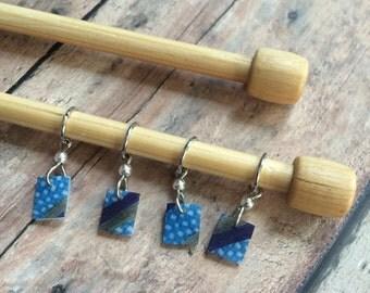 Hand Drawn Blue/Gray Zentangle Knitting Stitch Markers - Set of 4