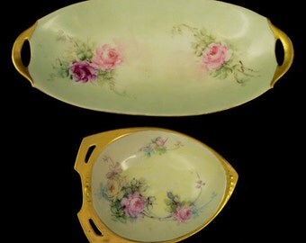 2pc Vtg R S Germany Bavarian Green Gilded Handpainted Rose Nut Celery Dishes L1Y