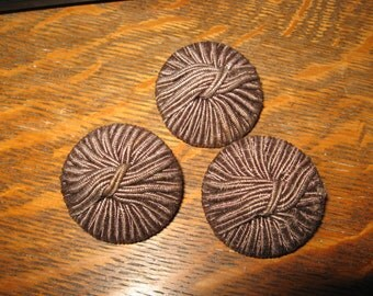 String Covered Buttons - Vintage 1950's Dk Brown String Covered Coat Buttons (3)