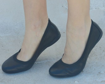 SUMMER SALE! Black shoes  leather ballet flats