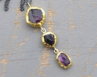 Rough Amethyst Necklace - 24k Gold Pendant - Gemstone Necklace - Wedding Pendant - Statement Necklace