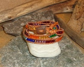 Chakra Triple Wrap Czech Glass Beaded Leather Bracelet