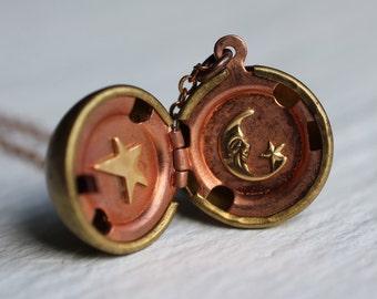 Sun Moon Star Locket .. Vintage Astrology Pendant Globe Planet