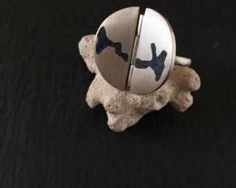 Silver Statement Ring, Istanbul Bosporus Design Ring, Lapis Ring, Big Round Silver Ring
