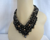 Vintage Trifari Beaded Bib Statement Necklace - Runway Black Givre Glass Bead Necklace