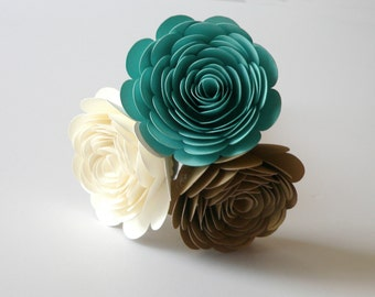 Turquoise, Ivory, and Gold Wedding Bouquet, Turquoise Bouquet, Ivory Bouquet, Gold Bouquet, Bridesmaids Bouquet