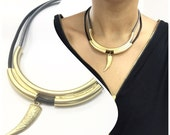 wolf tooth gold pendant Charm Necklaces large contemporary multi strand black leather Oversize high fashion necklace bold pendant jewelry