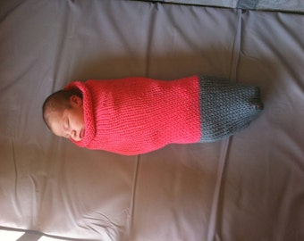 Toe-Dipped Knit Baby Cocoon/Sleep Sack