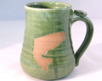 Coffee Mug - Trout - Fish Mug - Handmade Pottery - Pottersong - Brown - Wild Animal - Fish Silhouette - Bright Green - Fisherman Gift
