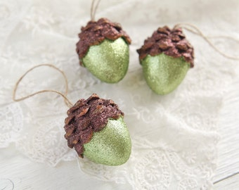 Acorn Ornaments, Moss Green Shimmer, Rustic Woodland Decor - Set of 3