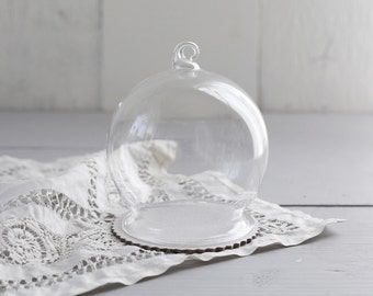 DIY Snow Globe Ornament - Clear Glass Ball with Chipboard Base