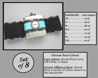Eight (8) Personalized Flask Garters: Bridesmaids Gift Set - Lace Garter with Flask - Flasks for Wedding, Bachelorette Party, Bridesmaids
