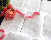 12 Vintage French Damask Napkins of Finest Quality with Hand Embroidered Monogram and Hemstitching