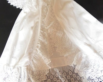 Christening Cape French Vintage in Cotton Pique with Exceptional Embroidery for Boy or Girl Baby