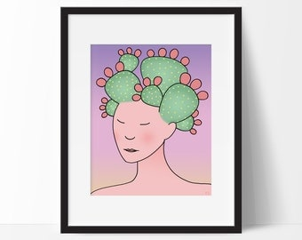 Prickly Pear Cactus Woman Art Print, For Girls, Child's Room, Southwestern Desert Decor