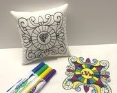 Coloring Pillow, Easter Basket Filler, Girls Birthday Party Favors, Personalized Pillow, Kids Crafts, Adult Coloring Books, Autograph Pillow