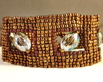 Brown Bead weaved Cuff Bracelet