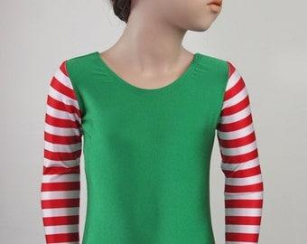 CHILD (Elf-Green)Striped Long Sleeve Leotard