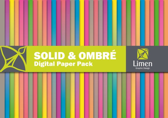 Neon Ombre Digital Paper Pack, Neon Solid Color Paper, Solid ...