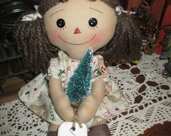Handmade  Raggedy Ann with her Christmas tree and tag