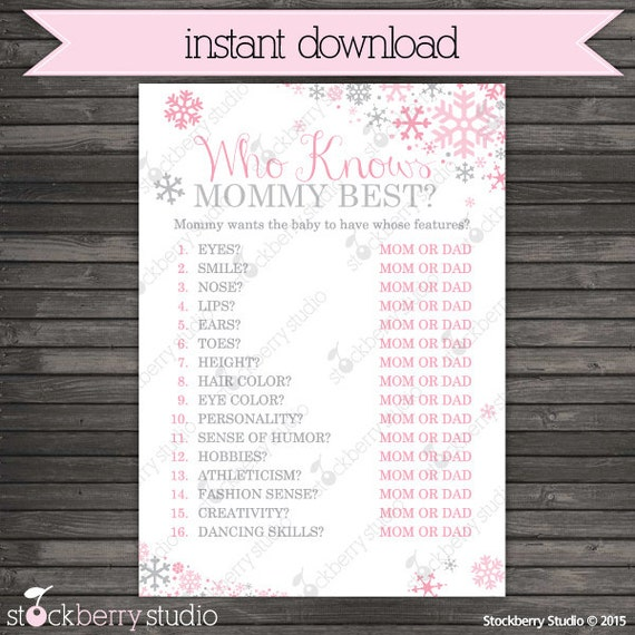 Winter Baby Shower Who Knows Mommy Best Printable Game