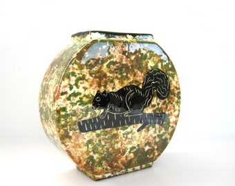 Vintage Ceramic Vase Weed Pot Mesa Pottery Small Brown Green Sponge Painting Mottled Black Squirrel Wyoming