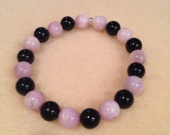 Kunzite & Black Onyx Round 8mm Bead Stretch Bracelet with Sterling Silver Accent