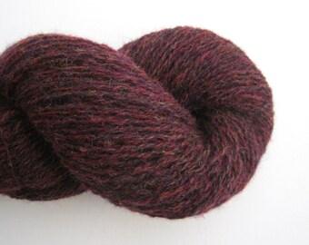 Recycled Shetland Wool Fingering Yarn, Oxblood Red, Lot 120216