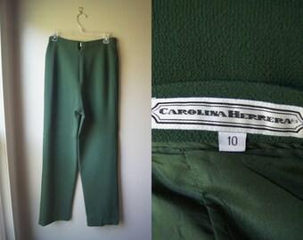 SALE Vintage CAROLINA HERRERA Pants Flat Front Pants Forest Green Slacks Large Slacks Carolina Herrera Slacks Flat Front Slacks No Pockets
