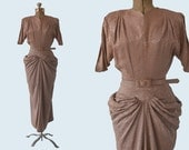 1940s Textured Rayon Dress size M