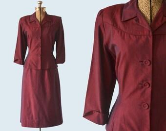 1940s Cranberry Red Cotton Ladies Suit Size S