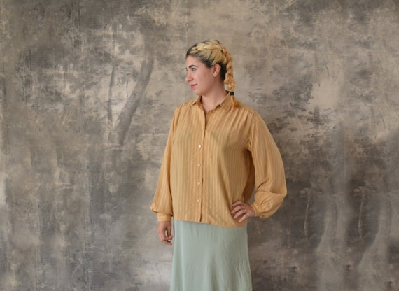Hermes Tan Silk Blouse size L
