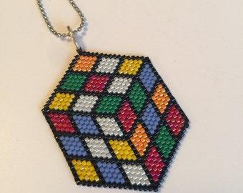 Rubiks Cube Beadwork Pendant Necklace