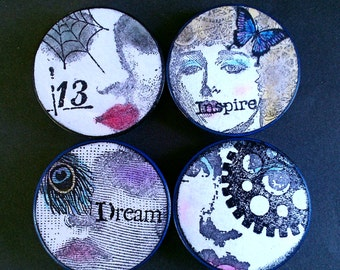 Poker Chip Magnets Moody Womens Faces Set of 4 Handmade