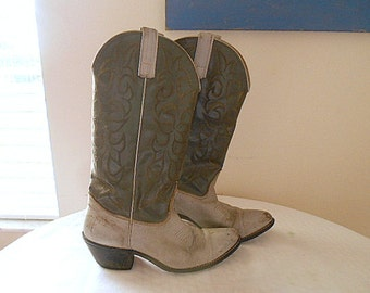 Vintage two toned Grey Leather cowboy Boots