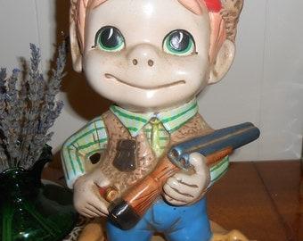 Vintage 1970's Atlantic Ceramic Mold Big Eyed Boy Hunter with Dog, Shotgun