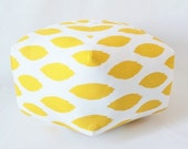 Moroccan Pouf / Ottoman / Yellow Ikat / Large Pouf / Bohemian Stool / Moroccan Pillow / Floor Cushion / Bohemian Decor / Yellow Fabric Pouf