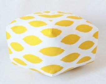 Moroccan Pouf / Ottoman / Yellow Ikat / Large Pouf / Bohemian Stool / Moroccan Pillow / Floor Cushion / Bohemian Decor / Yellow Fabric Pouf