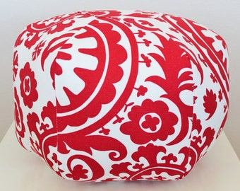 Floor pouf / Suzani Fabric / Floor pillow / Suzani floor pouf / red floor pouf / foot pouf / foot stool / Moroccan pouf /  Floor cushion